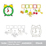 Search the hidden word, the simple educational kid game. Educational puzzle game for kids. Find the hidden word Green Clock Stock Images