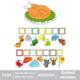 Search the hidden word, the simple educational kid game. Educational puzzle game for kids. Find the hidden word Grilles Chicken Stock Photography