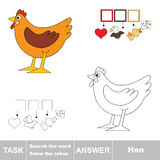 Search the hidden word, the simple educational kid game. Educational puzzle game for kids. Find the hidden word Hen Royalty Free Stock Photos