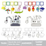 Search the hidden word, the simple educational kid game. Educational puzzle game for kids. Find the hidden word Lunar Rover Royalty Free Stock Photography