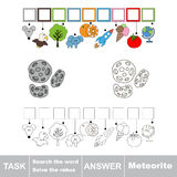 Search the hidden word, the simple educational kid game. Educational puzzle game for kids. Find the hidden word Meteorite Stock Photography