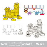 Search the hidden word, the simple educational kid game. Educational puzzle game for kids. Find the hidden word Money Stock Photography