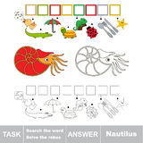 Search the hidden word, the simple educational kid game. Educational puzzle game for kids. Find the hidden word Nautilus Stock Image