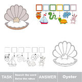 Search the hidden word, the simple educational kid game. Educational puzzle game for kids. Find the hidden word Oyster, the seashell with pearl Royalty Free Stock Photography