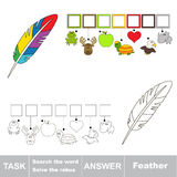 Search the hidden word, the simple educational kid game. Educational puzzle game for kids. Find the hidden word Rainbow Feather Royalty Free Stock Images