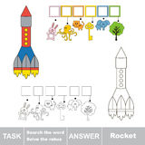 Search the hidden word, the simple educational kid game. Educational puzzle game for kids. Find the hidden word Rocket Royalty Free Stock Photos