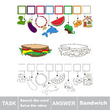 Search the hidden word, the simple educational kid game. Educational puzzle game for kids. Find the hidden word Sandwich Stock Images