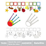 Search the hidden word, the simple educational kid game. Educational puzzle game for kids. Find the hidden word Satellite Royalty Free Stock Photo