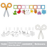 Search the hidden word, the simple educational kid game. Educational puzzle game for kids. Find the hidden word Scissors Stock Photography