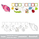 Search the hidden word, the simple educational kid game. Educational puzzle game for kids. Find the hidden word Seashell Royalty Free Stock Photo