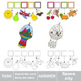 Search the hidden word, the simple educational kid game. Stock Photos