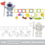 Search the hidden word, the simple educational kid game. Educational puzzle game for kids. Find the hidden word Spaceman Stock Photos