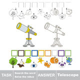Search the hidden word, the simple educational kid game. Educational puzzle game for kids. Find the hidden word Telescope Stock Photos