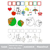 Search the hidden word, the simple educational kid game. Educational puzzle game for kids. Find the hidden word Two Funny Hazelnuts Stock Photos