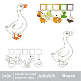 Search the hidden word, the simple educational kid game. Educational puzzle game for kids. Find the hidden word White Goose Stock Photography