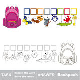 Search the hidden word, the simple educational kid game. Educational puzzle game for preschool kids. Find the hidden word Backpack Stock Images