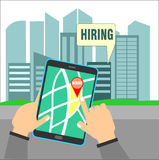 Search Hiring Location Using Map on Tablet Royalty Free Stock Photo