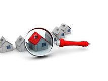 Search for home. Abstract 3d illustration of houses and magnify glass Stock Photos