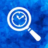 Search of 24 hour assistance flat icon, clock search icon design. On a blue triangular polygonal background Royalty Free Stock Photos