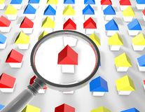 Search a house concept with houses and magnifying glass Stock Photos