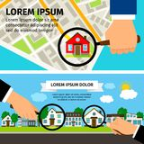 Search House Concept. Magnifying glass select with houses real estate and map. Search House Concept. Magnifying glass with house and map vector illustration Stock Images