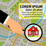 Search house on map. Search house vector illustration. Man hand holding magnifying glass and looking for a house on map Stock Photography