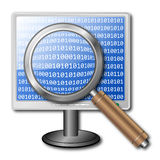 Search icon. Consisting of a monitor with a binary code and the magnifying glass Royalty Free Stock Photo