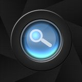 Search icon. Blue icon with magnifying glass stock images