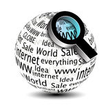 Search icon - globe with magnifier Stock Photography