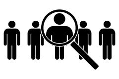 The search icon. Icons of people under a magnifying glass. Vector illustration Royalty Free Stock Photo
