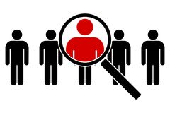 The search icon. Icons of people under a magnifying glass. Vector illustration Stock Photos