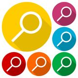 Search Icon, Magnifying Glass, Vector illustration with long shadow set Royalty Free Stock Images