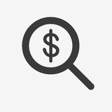 Search  icon. Search money icon. Flat  stock illustration. Isolated on white Stock Photography