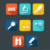 Search icon set, flat with shadow Royalty Free Stock Photo