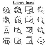 Search icon set in thin line style. Vector illustration graphic design Stock Photo