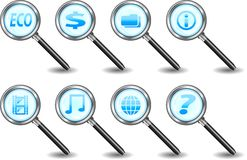 Search icons. A big color set of search web icons Royalty Free Stock Photo