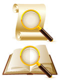 Search icons. Two magnifying glass focused on opened book and old paper scroll Royalty Free Stock Photo
