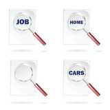 Search icons for job cars and home. Icon set with magnifying glass and newspaper for seeking for job cars and home and customizable blank icon Stock Photography