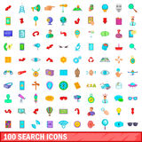 100 search icons set, cartoon style. 100 search icons set in cartoon style for any design vector illustration Stock Photography