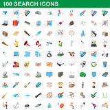 100 search icons set, cartoon style. 100 search icons set in cartoon style for any design vector illustration Stock Images