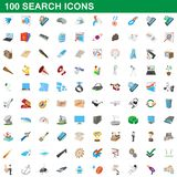 100 search icons set, cartoon style. 100 search icons set in cartoon style for any design illustration royalty free illustration