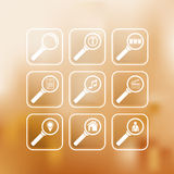 Search icons set. On a gradient mesh background. EPS 10 Stock Images