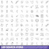 100 search icons set, outline style. 100 search icons set in outline style for any design vector illustration royalty free illustration