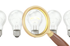 Search ideas concept with magnifier and lightbulbs, 3D rendering Royalty Free Stock Photography