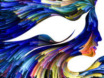 In Search of Imagination. Bird of Mind series. Composition of woman and bird profile executed with colorful paint for projects on creativity, imagination vector illustration