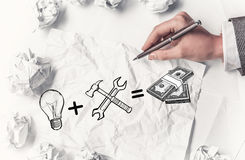 In search of income idea . Mixed media Stock Photos
