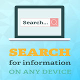 Search information on notebook in flat style on polygonal background Royalty Free Stock Image