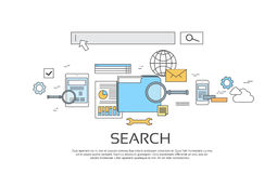 Search Information Online Technology Set Icon. Search Information Online Internet Technology Banner Icon Vector Illustration Stock Image