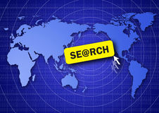 Search the internet. World map and search button Stock Photos
