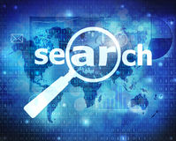 Search. Internet search concept on blue background stock illustration